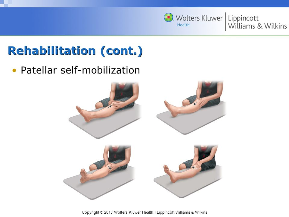 Copyright © 2013 Wolters Kluwer Health | Lippincott Williams & Wilkins Rehabilitation (cont.) Patellar self-mobilization