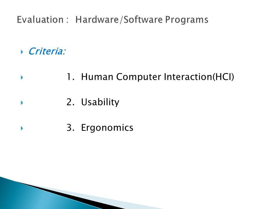  Criteria:  1. Human Computer Interaction(HCI)  2. Usability  3. Ergonomics