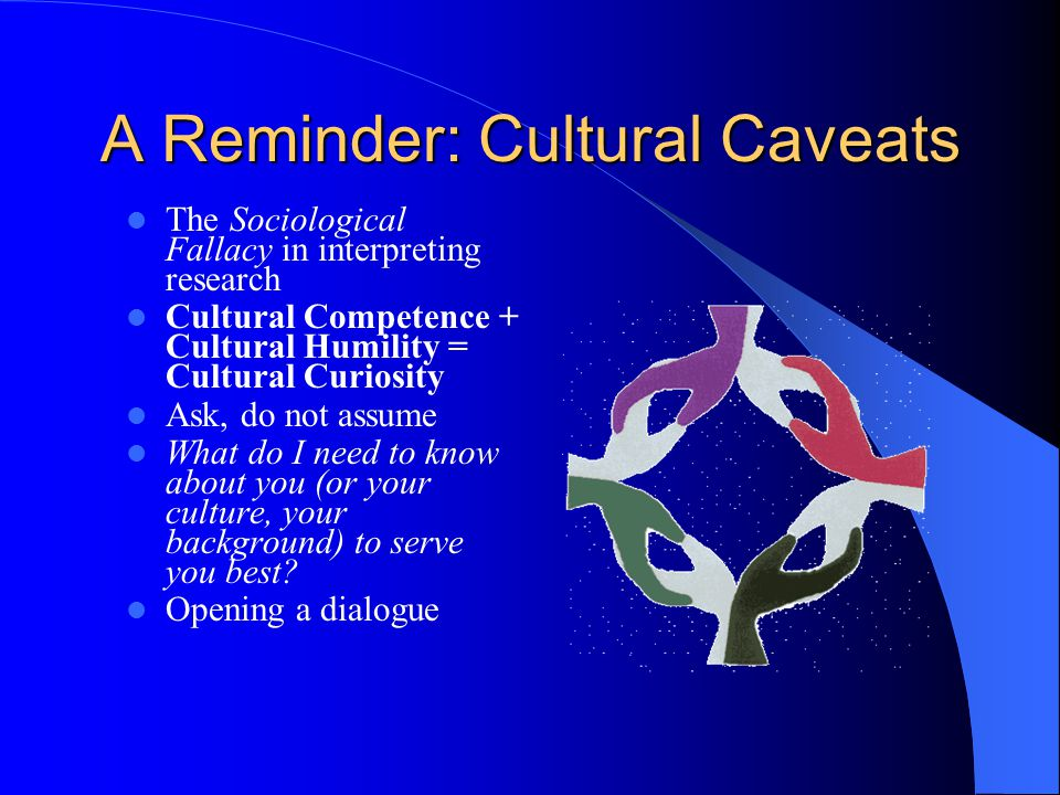 A Reminder: Cultural Caveats The Sociological Fallacy in interpreting research Cultural Competence + Cultural Humility = Cultural Curiosity Ask, do not assume What do I need to know about you (or your culture, your background) to serve you best.