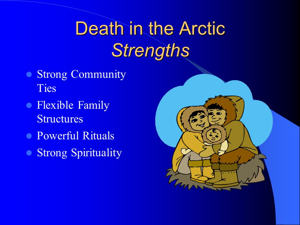 Death in the Arctic Strengths Strong Community Ties Flexible Family Structures Powerful Rituals Strong Spirituality