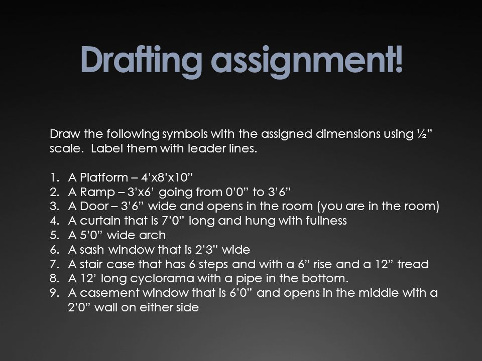 "Drafting assignment! Draw the following symbols with the assigned dimensions using ½"" scale. Label them with leader lines. 1.A Platform – 4'x8'x10"" 2."