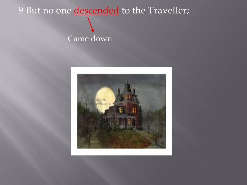9 But no one descended to the Traveller; Came down