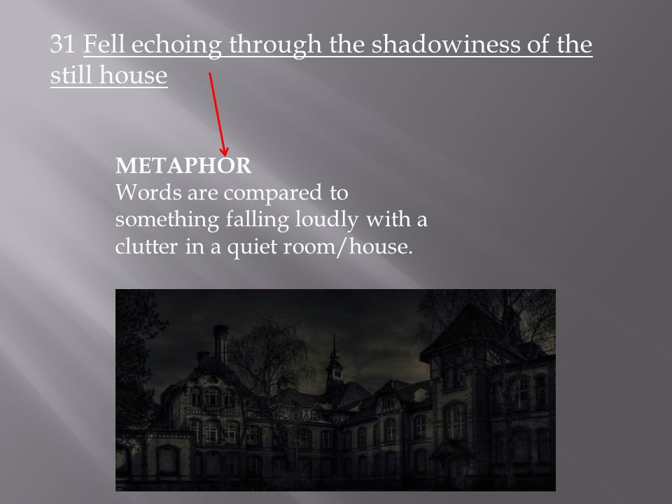 31 Fell echoing through the shadowiness of the still house METAPHOR Words are compared to something falling loudly with a clutter in a quiet room/house.