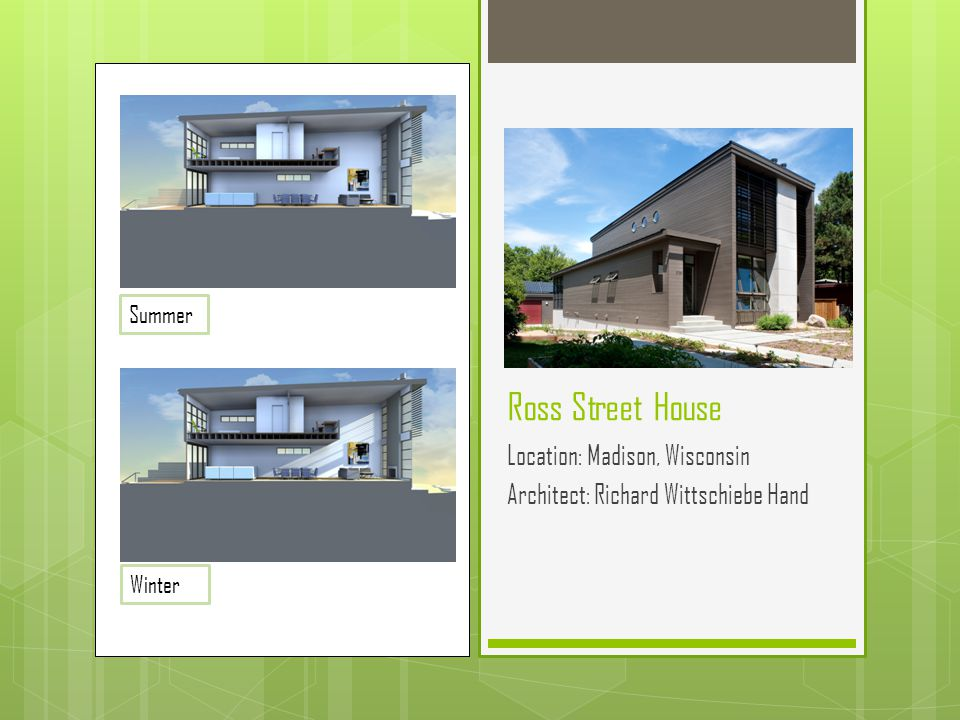 Ross Street House Location: Madison, Wisconsin Architect: Richard Wittschiebe Hand Summer Winter