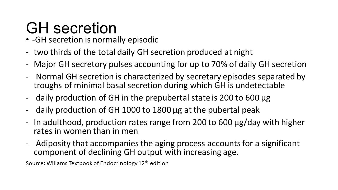 GH secretion -GH secretion is normally episodic -two thirds of the total daily GH secretion produced at night -Major GH secretory pulses accounting fo