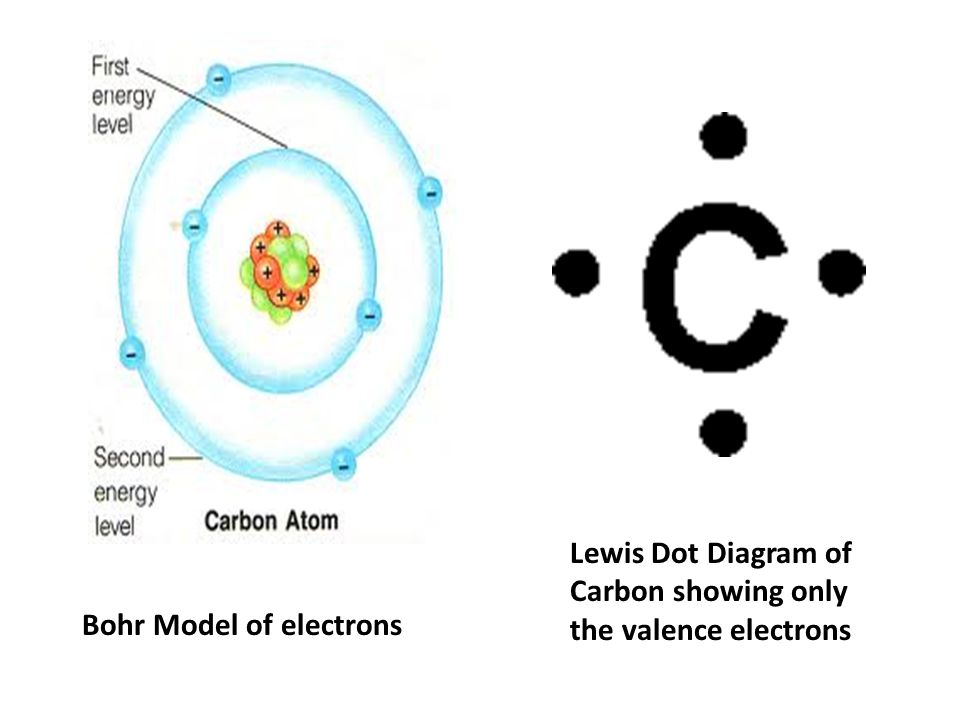 Bohr Model of electrons Lewis Dot Diagram of Carbon showing only the valence electrons