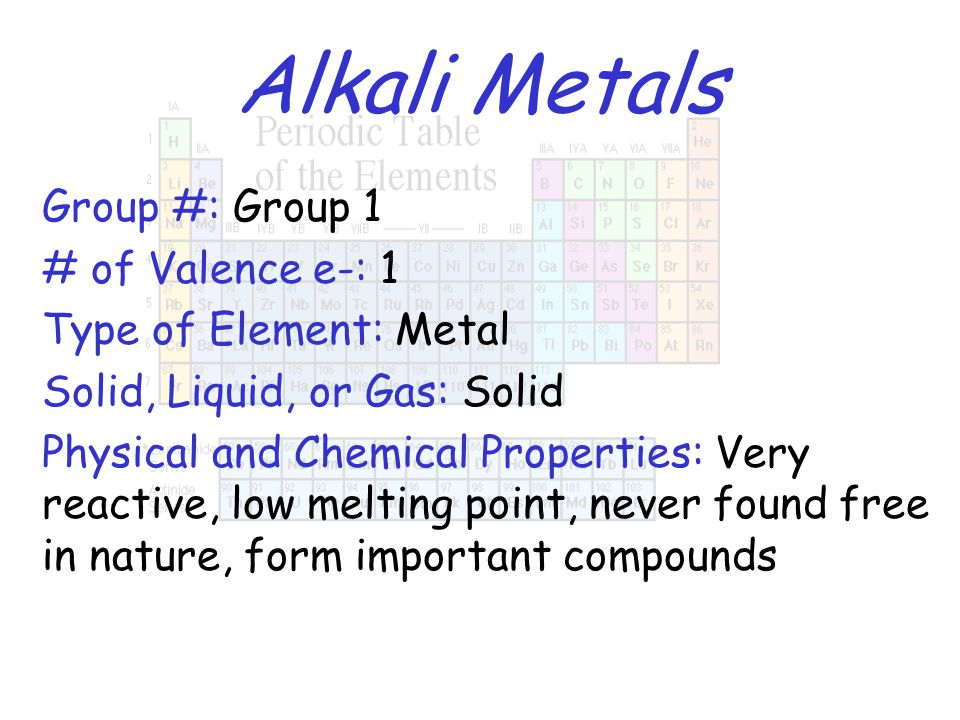 Alkali Metals Group #: Group 1 # of Valence e-: 1 Type of Element: Metal Solid, Liquid, or Gas: Solid Physical and Chemical Properties: Very reactive,