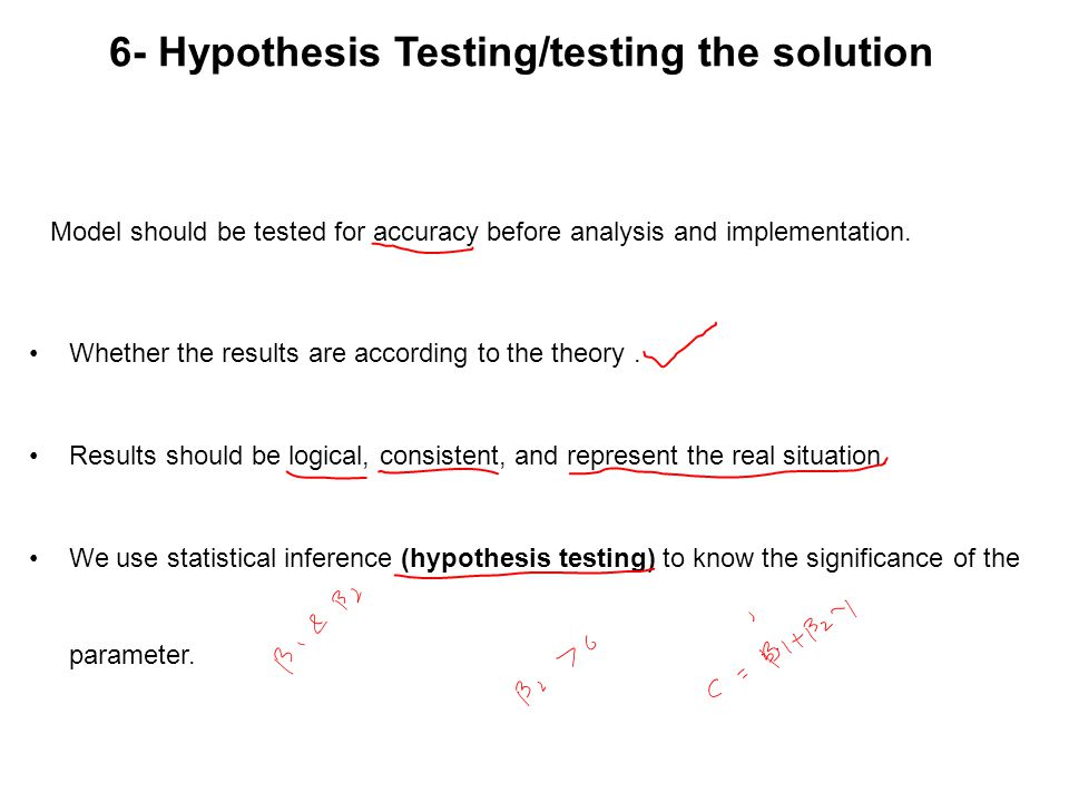 6- Hypothesis Testing/testing the solution Model should be tested for accuracy before analysis and implementation. Whether the results are according t