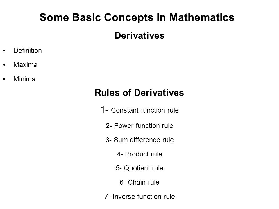 Some Basic Concepts in Mathematics Derivatives Definition Maxima Minima Rules of Derivatives 1- Constant function rule 2- Power function rule 3- Sum d