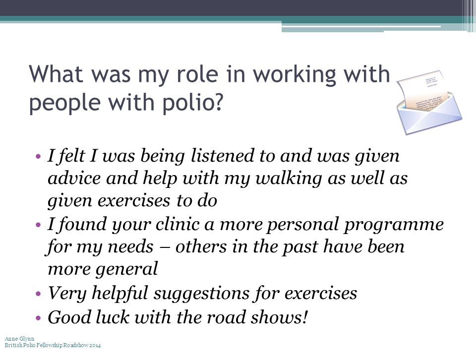 What was my role in working with people with polio.