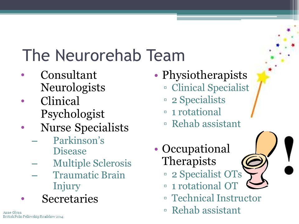 The Neurorehab Team Consultant Neurologists Clinical Psychologist Nurse Specialists – Parkinson's Disease – Multiple Sclerosis – Traumatic Brain Injur