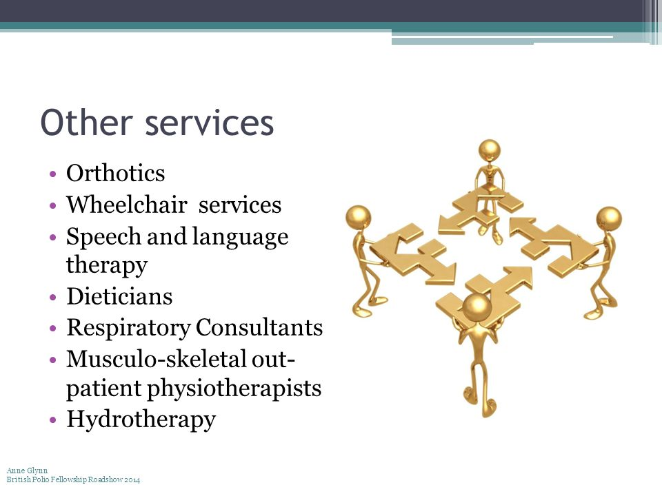 Other services Orthotics Wheelchair services Speech and language therapy Dieticians Respiratory Consultants Musculo-skeletal out- patient physiotherap