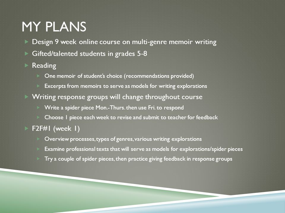 MY PLANS  Design 9 week online course on multi-genre memoir writing  Gifted/talented students in grades 5-8  Reading  One memoir of student's choice (recommendations provided)  Excerpts from memoirs to serve as models for writing explorations  Writing response groups will change throughout course  Write a spider piece Mon.-Thurs.