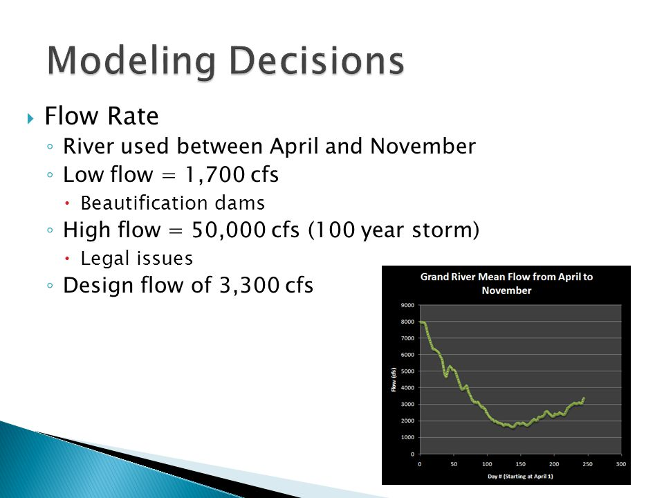  Flow Rate ◦ River used between April and November ◦ Low flow = 1,700 cfs  Beautification dams ◦ High flow = 50,000 cfs (100 year storm)  Legal issues ◦ Design flow of 3,300 cfs