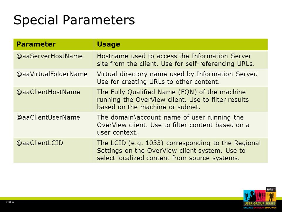 Slide 25 Special Parameters ParameterUsage @aaServerHostNameHostname used to access the Information Server site from the client.