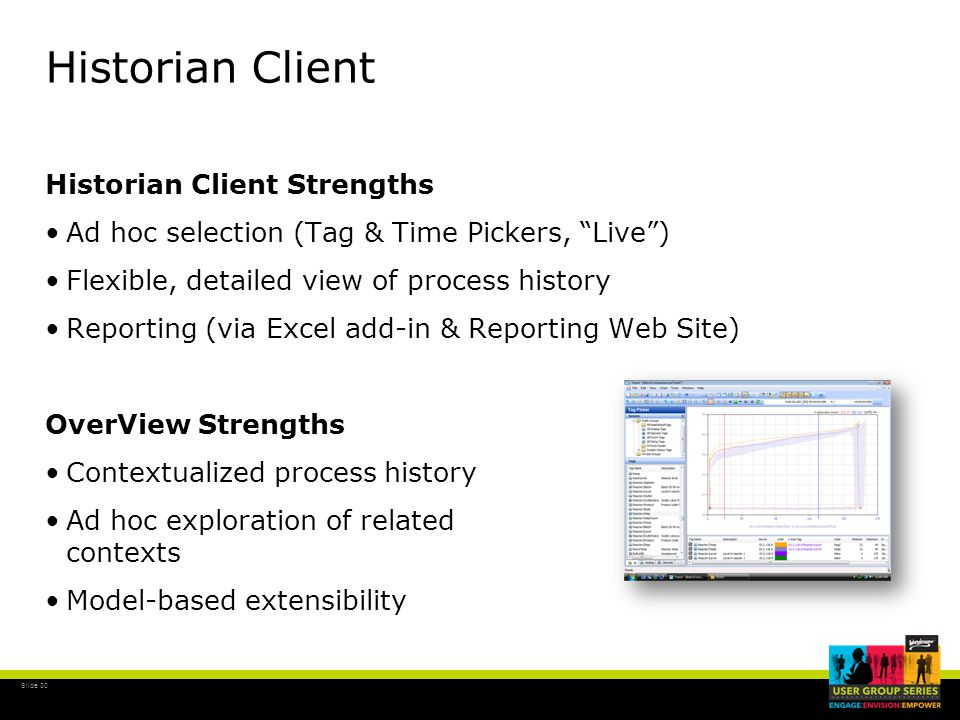 """Slide 30 Historian Client Historian Client Strengths Ad hoc selection (Tag & Time Pickers, """"Live"""") Flexible, detailed view of process history Reportin"""