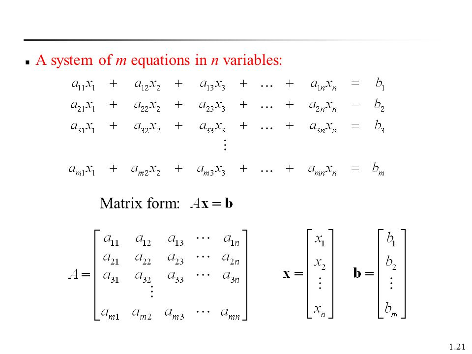 1.21 A system of m equations in n variables: Matrix form: