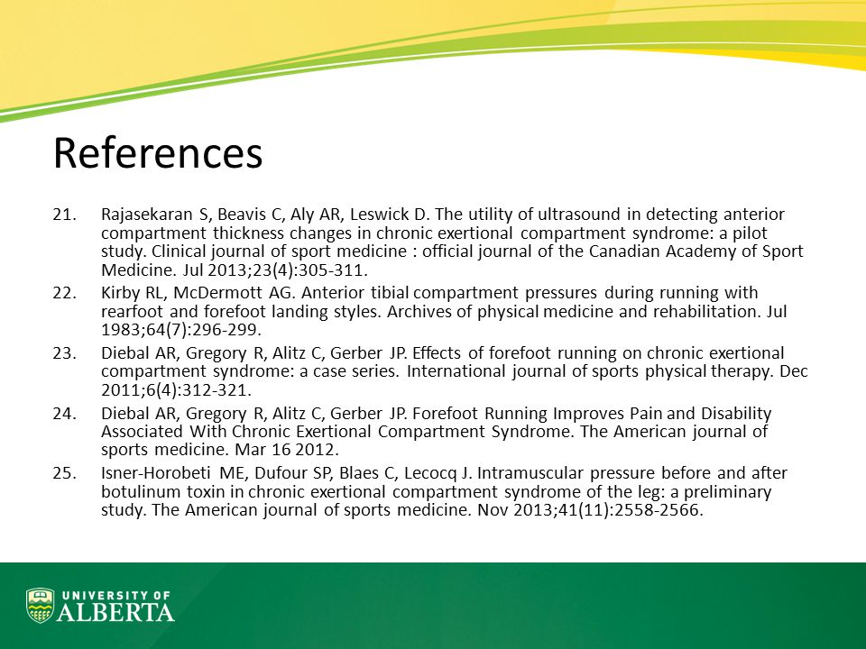 References 21.Rajasekaran S, Beavis C, Aly AR, Leswick D. The utility of ultrasound in detecting anterior compartment thickness changes in chronic exe
