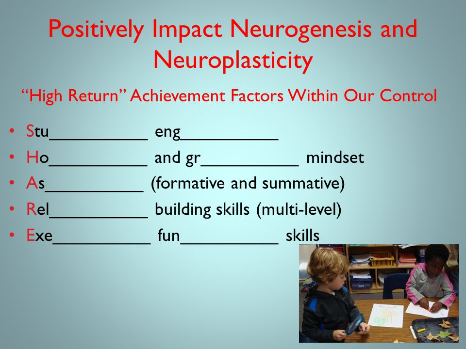 Positively Impact Neurogenesis and Neuroplasticity High Return Achievement Factors Within Our Control Stu__________ eng__________ Ho__________ and gr__________ mindset As__________ (formative and summative) Rel__________ building skills (multi-level) Exe__________ fun__________ skills