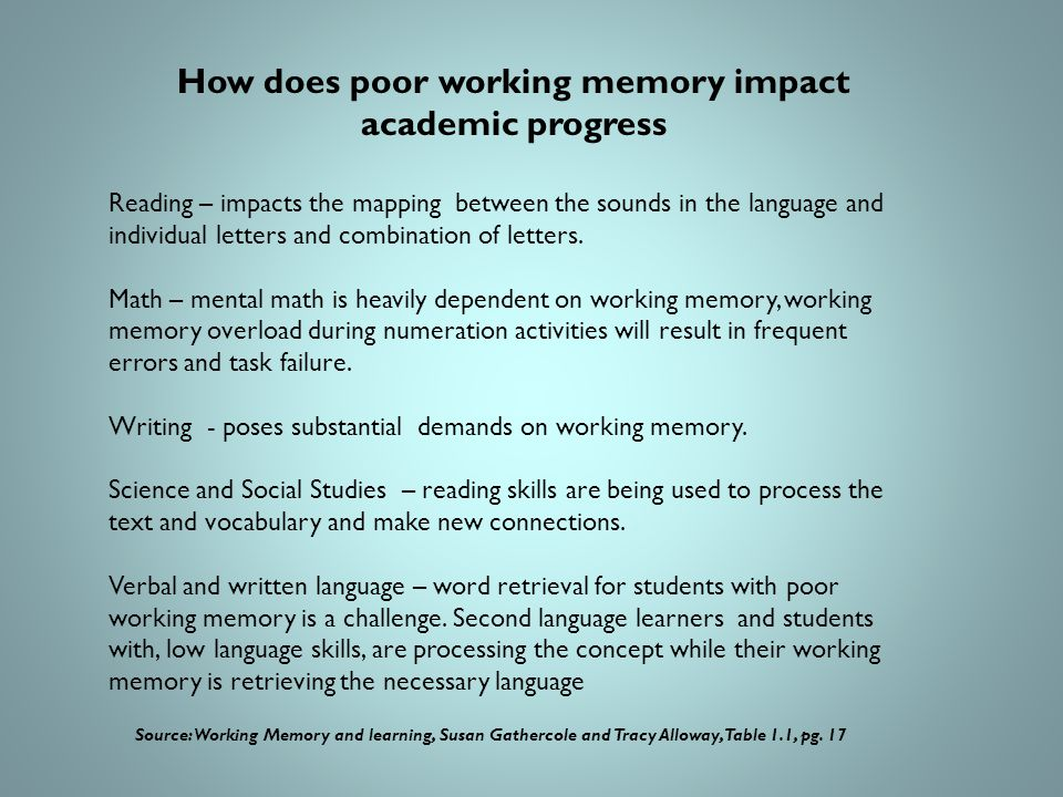 How does poor working memory impact academic progress Reading – impacts the mapping between the sounds in the language and individual letters and combination of letters.