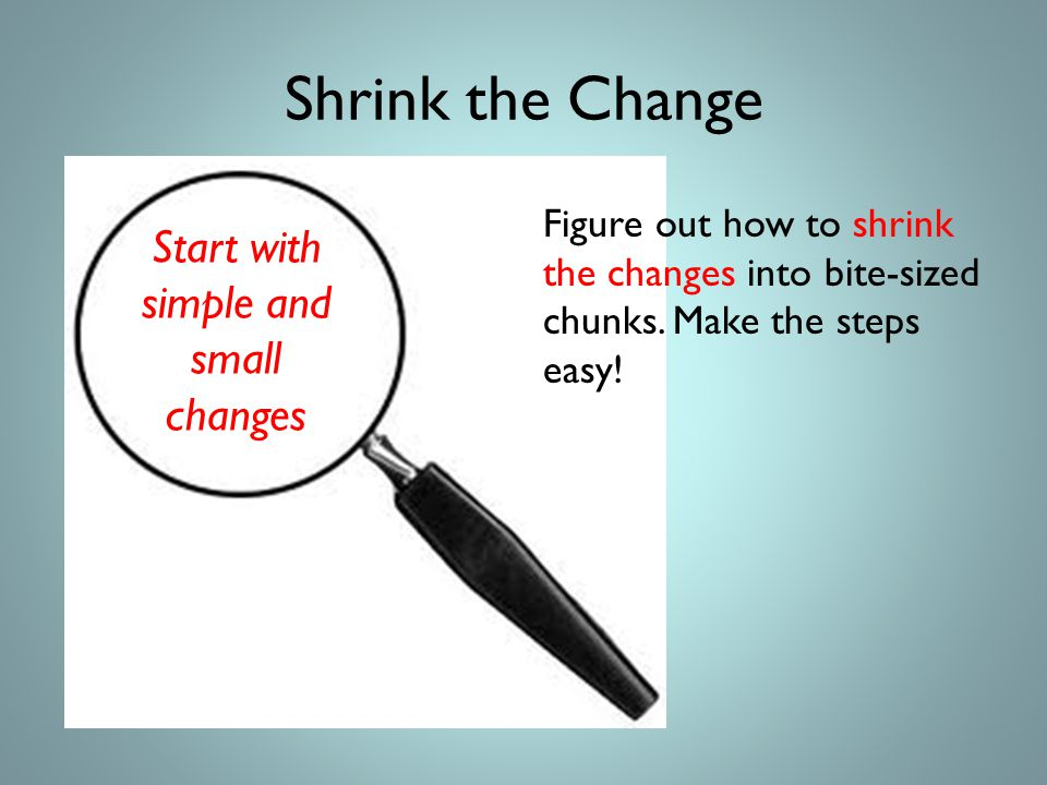Shrink the Change Figure out how to shrink the changes into bite-sized chunks.