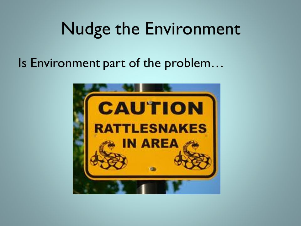 Nudge the Environment Is Environment part of the problem…