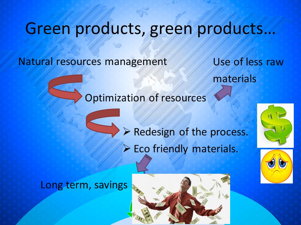 Green products, green products… Natural resources management Optimization of resources  Redesign of the process.