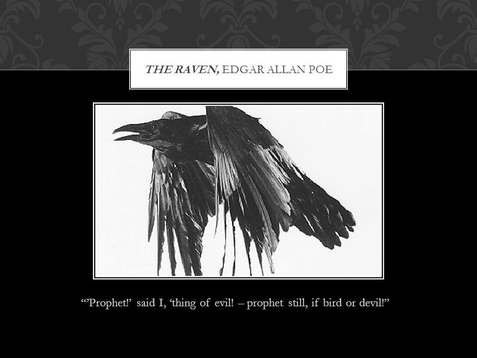 """""""'Prophet!' said I, 'thing of evil! – prophet still, if bird or devil!"""" THE RAVEN, EDGAR ALLAN POE"""