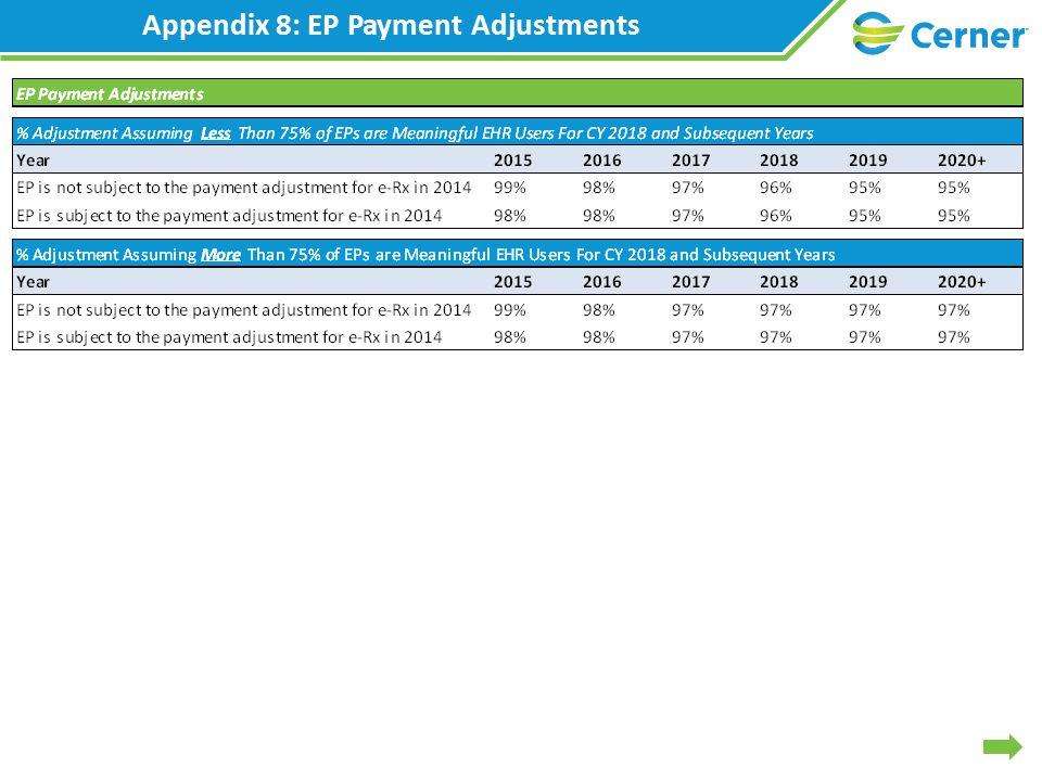 Appendix 8: EP Payment Adjustments