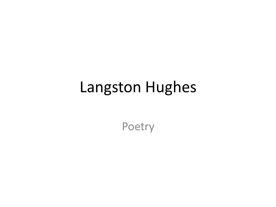Langston Hughes Poetry