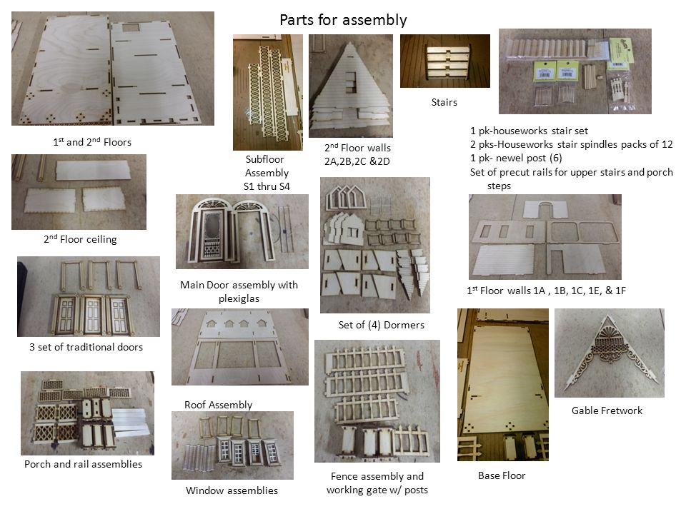 Parts for assembly Roof Assembly Subfloor Assembly S1 thru S4 2 nd Floor walls 2A,2B,2C &2D 1 pk-houseworks stair set 2 pks-Houseworks stair spindles