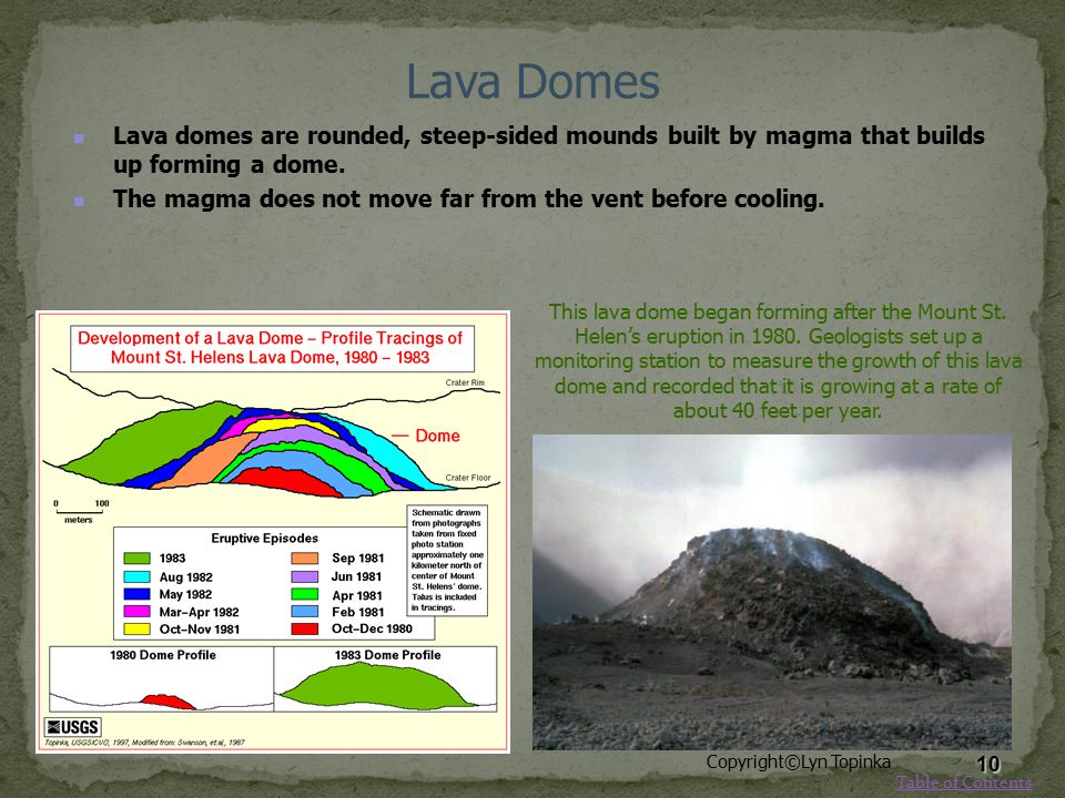 Lava Domes Lava domes are rounded, steep-sided mounds built by magma that builds up forming a dome. The magma does not move far from the vent before c
