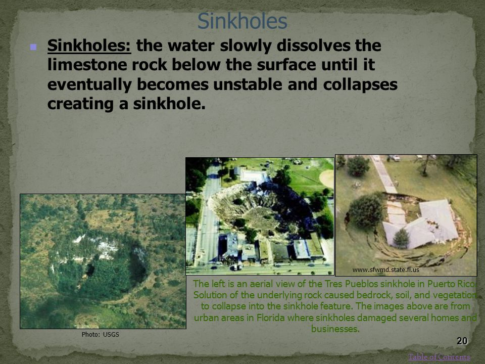 Sinkholes Sinkholes: the water slowly dissolves the limestone rock below the surface until it eventually becomes unstable and collapses creating a sin