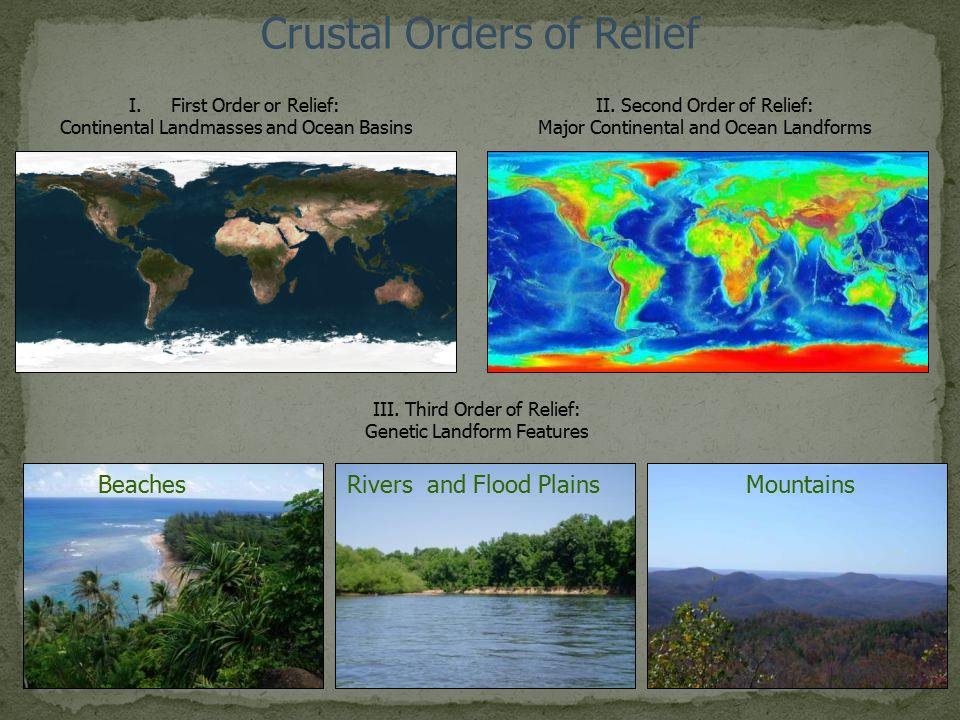 Crustal Orders of Relief I.First Order or Relief: Continental Landmasses and Ocean Basins II. Second Order of Relief: Major Continental and Ocean Land