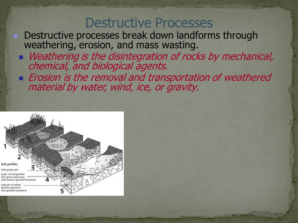Destructive Processes Destructive processes break down landforms through weathering, erosion, and mass wasting. Weathering is the disintegration of ro