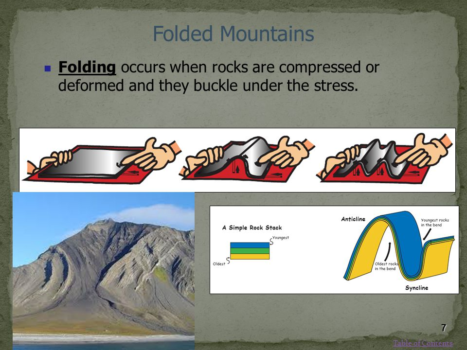 Folded Mountains Folding occurs when rocks are compressed or deformed and they buckle under the stress. 7 Table of Contents