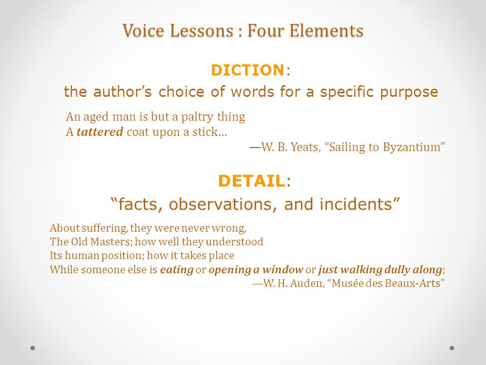 """Voice Lessons : Four Elements An aged man is but a paltry thing A tattered coat upon a stick… —W. B. Yeats, """"Sailing to Byzantium"""" DICTION: the author"""