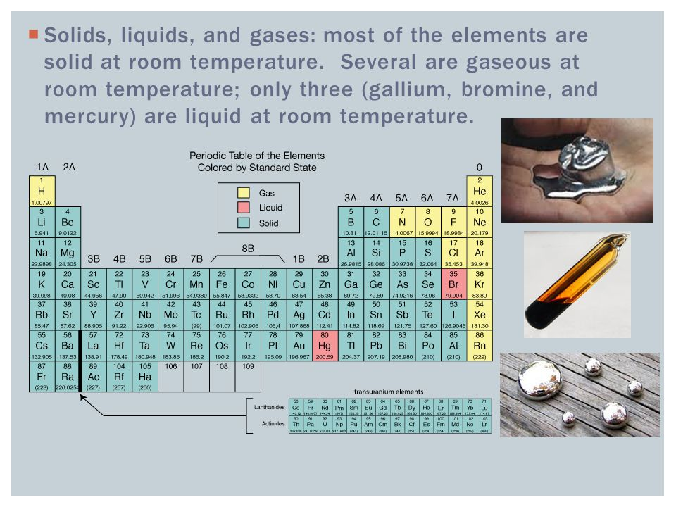  Solids, liquids, and gases: most of the elements are solid at room temperature.