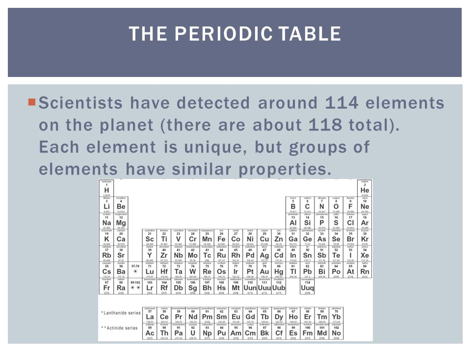  Scientists have detected around 114 elements on the planet (there are about 118 total).