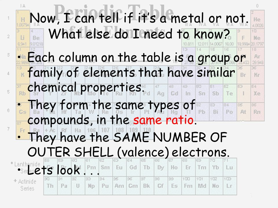 Now, I can tell if it's a metal or not. What else do I need to know? Each column on the table is a group or family of elements that have similar chemi