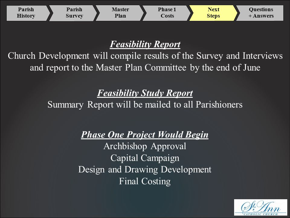 Parish History Master Plan Phase 1 Costs Next Steps Parish Survey Questions + Answers Feasibility Report Church Development will compile results of the Survey and Interviews and report to the Master Plan Committee by the end of June Feasibility Study Report Summary Report will be mailed to all Parishioners Phase One Project Would Begin Archbishop Approval Capital Campaign Design and Drawing Development Final Costing