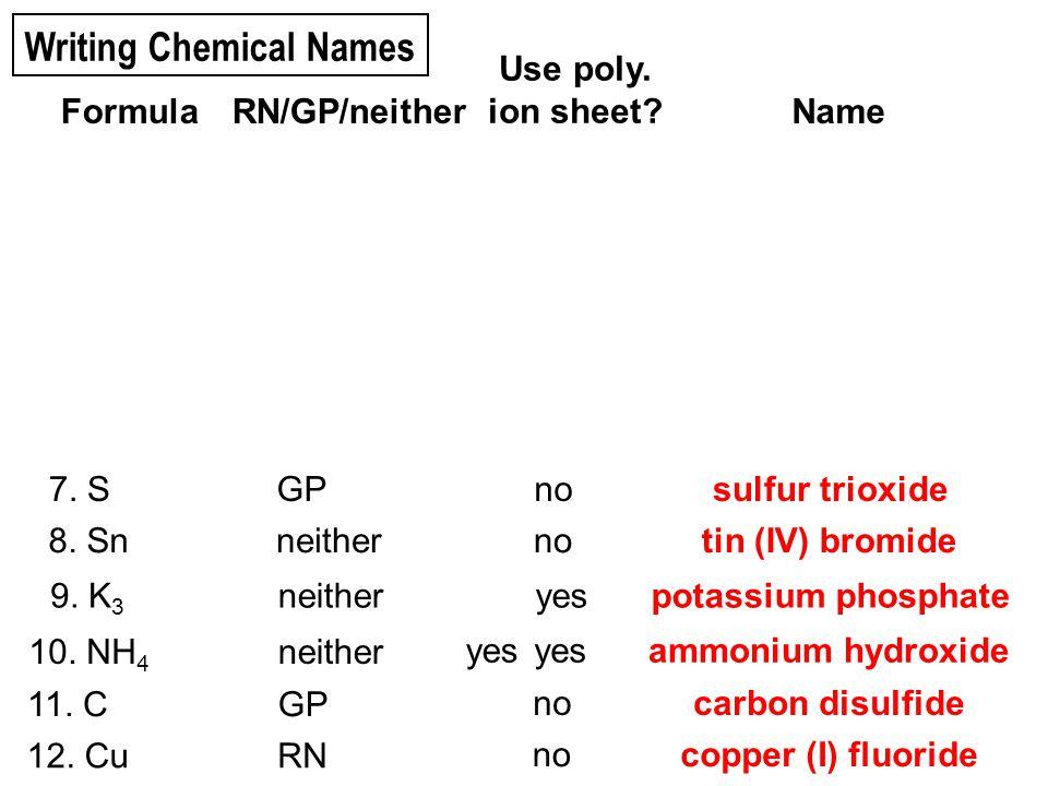10. oxygen difluoride 4. zinc arsenate 5. silver nitride 1. copper (II) phosphide 2. lithium phosphate 3. phosphorus triiodide 7. dinitrogen pentasulf