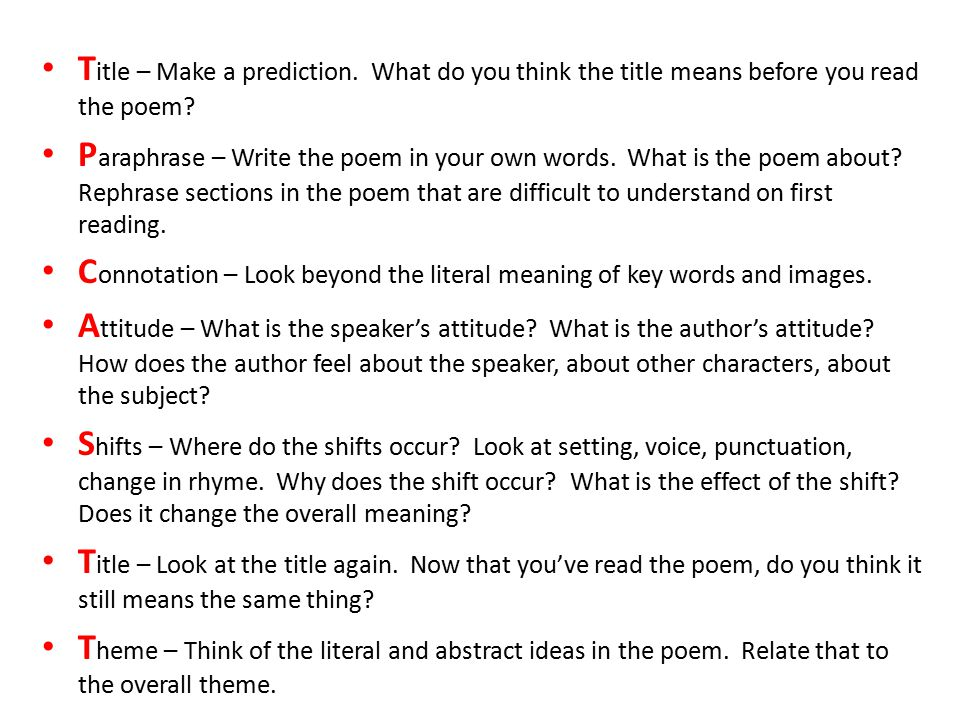 T itle – Make a prediction. What do you think the title means before you read the poem? P araphrase – Write the poem in your own words. What is the po