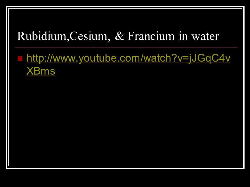 Rubidium,Cesium, & Francium in water http://www.youtube.com/watch?v=jJGqC4v XBms http://www.youtube.com/watch?v=jJGqC4v XBms