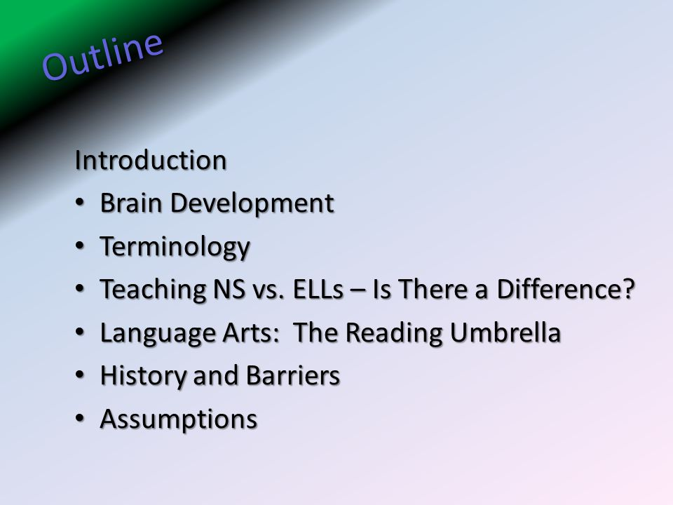 Outline Introduction Brain Development Brain Development Terminology Terminology Teaching NS vs. ELLs – Is There a Difference? Teaching NS vs. ELLs –