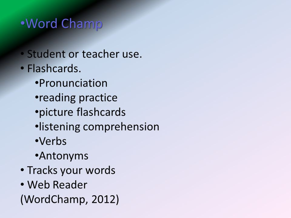Word Champ Word Champ Student or teacher use.Flashcards.