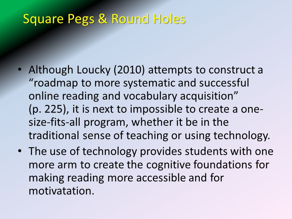 Square Pegs & Round Holes Although Loucky (2010) attempts to construct a roadmap to more systematic and successful online reading and vocabulary acquisition (p.
