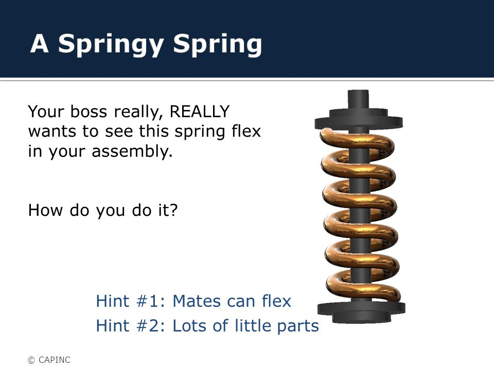 Your boss really, REALLY wants to see this spring flex in your assembly.