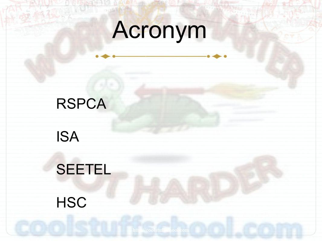 Acronym RSPCA ISA SEETEL HSC http://coolstuffschool.com