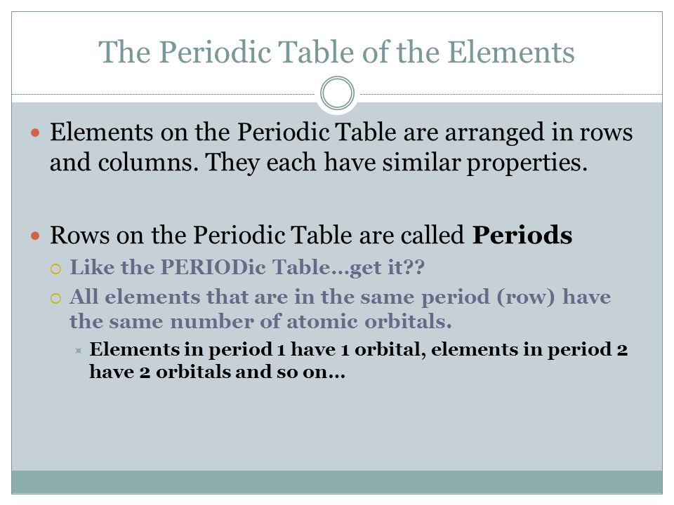 The Periodic Table of the Elements Elements on the Periodic Table are arranged in rows and columns.